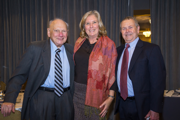 From left, Herb Garten, of Fedder & Garten; Judge Karen Murphy Jensen, who is retired from the Circuit Court of Caroline County; and Bob Rhudy, a former executive director of the Maryland Legal Services Corporation, helped celebrate MLSC's 35-year history at its annual awards reception. (Photo by Guill Photo Inc.)