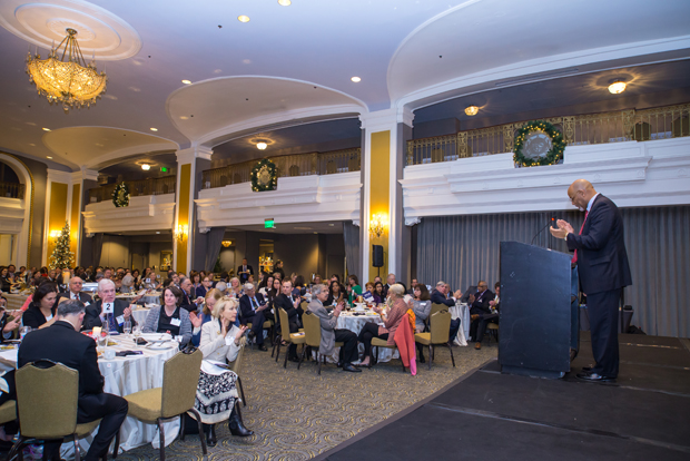 Maryland Legal Services Corporation chair Glenn Ivey, at lectern, welcomes more than 200 guests to the Lord Baltimore hotel for MLSC's annual awards reception and 35th anniversary celebration. (Photo by Guill Photo Inc.)