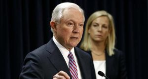 Attorney General Jeff Sessions speaks alongside Secretary of Homeland Security Kirstjen Nielsen during a news conference in Baltimore, Tuesday, Dec. 12, 2017, to announce efforts to combat the MS-13 street gang with law enforcement and immigration actions. (AP Photo/Patrick Semansky)