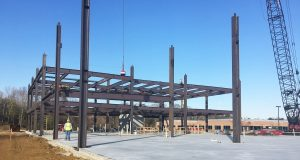 The five-story building comprising about 130,000 square feet of Class A Office space within Annapolis Corporate Park at 187 Harry S Truman Parkway in Annapolis under construction. (Photo courtesy of St. John Properties).