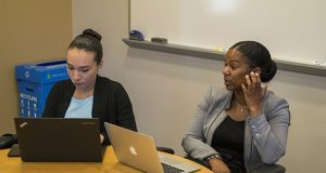 """Genesis Fuentes, left, and Dr. Kris Marsh are part of a team within the University of Maryland Department of Sociology that has been developing implicit bias training for police officers. """"Once you change one officer at a time then you start to change the culture,"""" Marsh said. (Capital News Service / Helen Parshall)"""