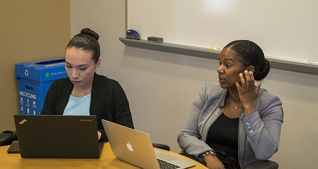 "Genesis Fuentes, left, and Dr. Kris Marsh are part of a team within the University of Maryland Department of Sociology that has been developing implicit bias training for police officers. ""Once you change one officer at a time then you start to change the culture,"" Marsh said. (Capital News Service / Helen Parshall)"