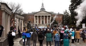 Protesters gathered on Lawyers' Mall in January of 2018 during the opening of the General Assembly session.(Maximilian Franz/The Daily Record)
