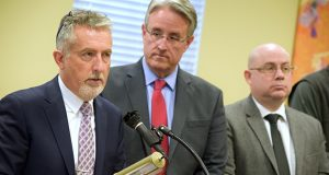 Mike Tidwell, left, founder and director of the Chesapeake Climate Action Network,with state Sen. Richard Madaleno, D-Montgomery at a Friday news conference. Environmental groups are protesting the state's hearing process for a natural gas pipeline in western Maryland. (Bryan P. Sears)