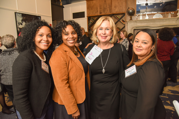 From left, Tiffany Esther, a global supply chain manager with Lockheed Martin; Sherna Barksdale; Barbara Clapp, president and CEO of Clapp Communications; and Ayanna Taaffee attended The Daily Record's Path to Excellence networking event at Hotel Indigo. (Photo by Maximilian Franz)