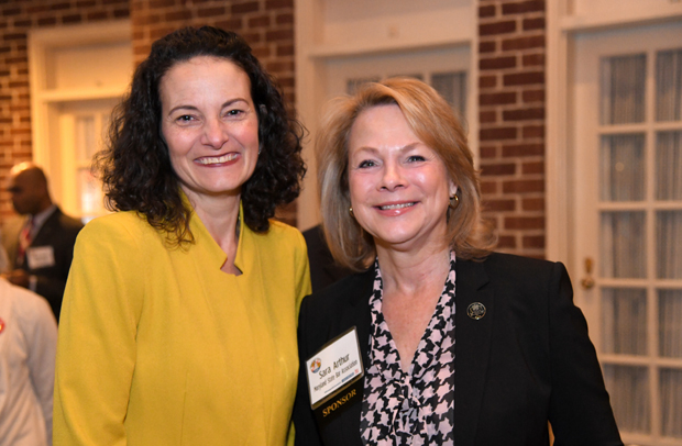 Suzanne Fischer- Huettner, left, publisher of The Daily Record, spent time with Sara Arthur, president of the Maryland State Bar Association, during the 15th annual Annapolis Summit in Annapolis. (Photo by Maximilian Franz)