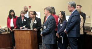 Del. Joseline Pena-Melnyk speaks about new legislation that aims to rein in the price of prescription drugs. (Tim Curtis /The Daily Record)