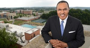 7-28-16 BALTIMORE, MD- Dr. Freeman Hrabowski, President of UMBC seen here on Capmus for a Q+A and story about the 50th anniversary of the University. (The Daily Record/Maximilian Franz)