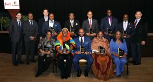 Honorees: (back row) Jonas Edward Brooks, Jefferi K. Lee, Maryland Lt. Governor Boyd K. Rutherford, Pastor James E. Rollins, Bishop Doctor Abraham Shanklin, Jr.  (front row) Jeanne Hitchcock, Cassandra Sneed Ogden for The Jonathan Ogden Foundation, Ramsey Harris, Cynthia Brooks, Sheila Brooks, Ph.D.  Also pictured from left to right (back row): Jonathan Cordish, Zed Smith, Travis Lamb, Wayne R. Frazier, Sr. (PRNewsfoto/Live! Casino & Hotel)