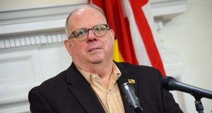Gov. Larry Hogan speaks to reporters Thursday in Annapolis. (Bryan P. Sears/The Daily Record)