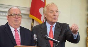 Gov. Larry Hogan, left, and Comptroller Peter V.R. Franchot. (File photo)