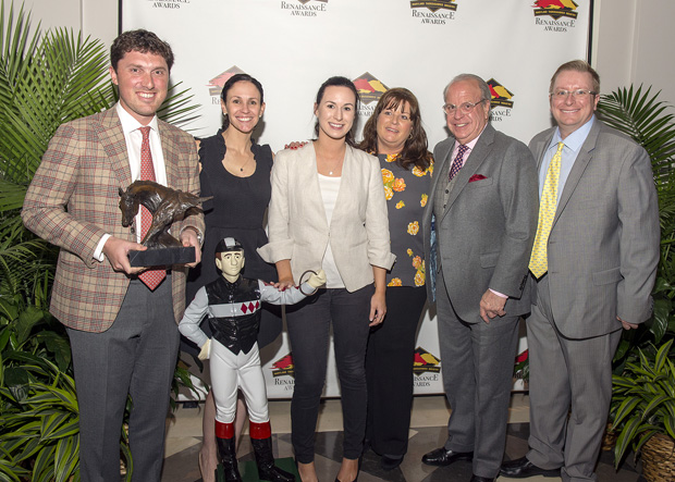 Members of the Sagamore Farm team accepted the award for Owner of the Year at the inaugural Renaissance Awards. Pictured from left are Hunter Rankin, Sagamore Farm president and a Maryland Horse Breeders Association board member; Jocelyn Brooks, chief of staff; Katlyn Lamp, communications manager; Carolyn Johnson, general accountant; and Randy Lewis, director of guest services & business development. Joining them was David Richardson, far right, executive director of the Maryland Thoroughbred Horseman's Association. (Photo by Jerry Dzierwinkski, Maryland Horse Breeders Association)