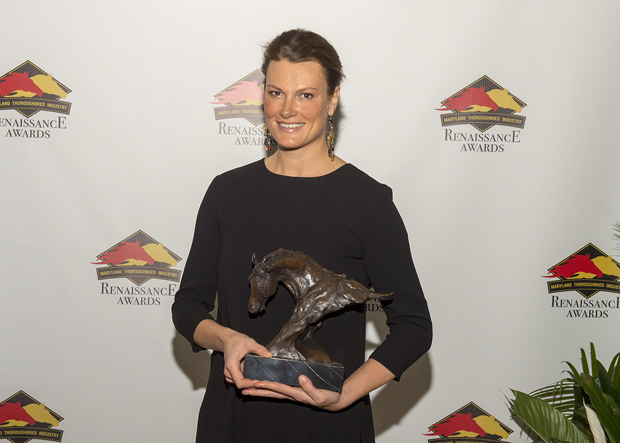 Elizabeth Voss, the trainer of Swoop, collects the award for Maryland Bred Champion Steeplechaser at the inaugural Renaissance Awards. (Photo by Jerry Dzierwinkski, Maryland Horse Breeders Association)