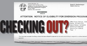 A sample of one of the letters sent in Baltimore County by Victim Services Inc.  (Photo illustration by Nathan Woodside)