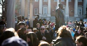 Private School 3.jpg- Gov. Larry Hogan addresses a crowd of students and educators at a nonpublic school advocacy rally in Annapolis on Tuesday, March 13, 2018. Funds go to subsidize tuition and meals for underprivileged students. (Aaron Rosa/Capital News Service)