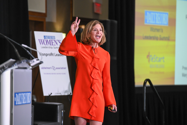 "Professional coach Mary Ann ""Skipper"" Singer, a principal with Synergy Consultants LLC, presents her ""ReStart, ReFuel, and ReInvent: How to lead a more purposeful life"" discussion at the Women's Leadership Summit. (Photo by Maximilian Franz / The Daily Record)"