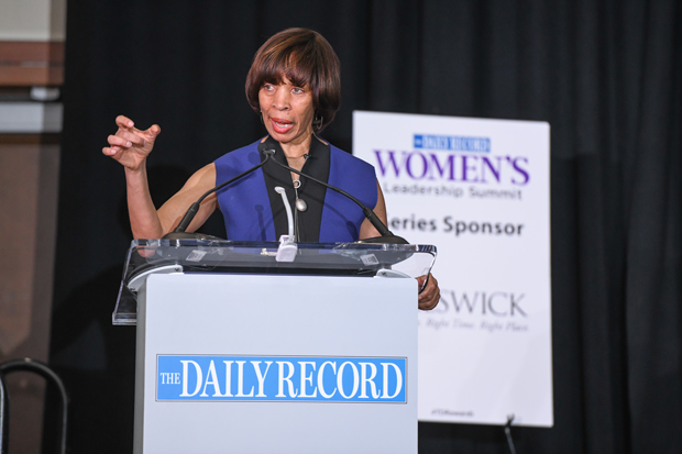 Baltimore Mayor Catherine Pugh delivers the keynote address during the Women's Leadership Summit at the BWI Hilton. (Photo by Maximilian Franz / The Daily Record)