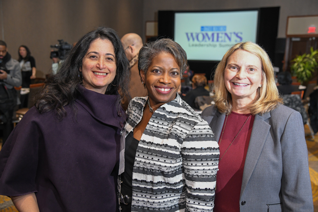 From left, Veronica Cool, managing partner of Cool & Associates LLC; Luwanda Jenkins, chief of staff to the president of Coppin State University; and Mary Hastler, CEO of the Harford County Public Library, attended the Women's Leadership Summit. (Photo by Maximilian Franz / The Daily Record)