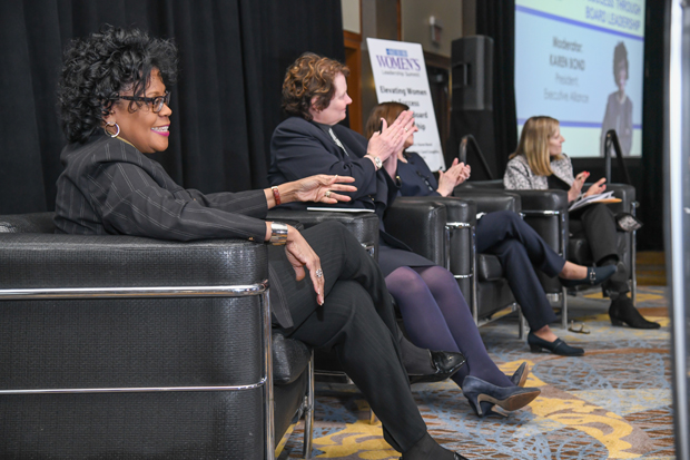 "From left, Karen Bond, Pat Lambert, Carol Coughlin and Ellen Fish participate in the ""Elevating Women to Success Through Board Leadership"" panel discussion during the Women's Leadership Summit. (Photo by Maximilian Franz / The Daily Record)"