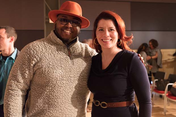 Aaron Jones, left, chief operating officer of Treason Toting Company; and Kelly Keenan Trumpbour, founder of See Jane Invest, attended Demo Day 3 at the MICA Fred Lazarus IV Center. (Photo courtesy of Alex Afzali, SHIFT Ventures and Conscious Venture Lab)