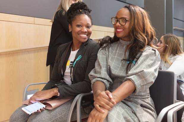 Tammira Lucas, left, CEO of The Cube; and TeKesha Jamison, chief financial officer of The Cube, were part of Demo Day 3 at the MICA Fred Lazarus IV Center. (Photo courtesy of Alex Afzali, SHIFT Ventures and Conscious Venture Lab)
