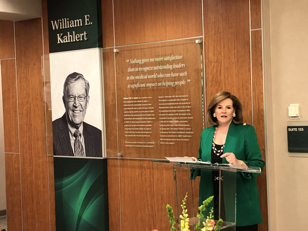 Patricia J. Mitchell, chair of the board of directors with GBMC HealthCare, delivers some words to the crown at during the dedication ceremony of the William E. Kahlert Physicians Pavilion North building.  (Photo by Eve Butt)