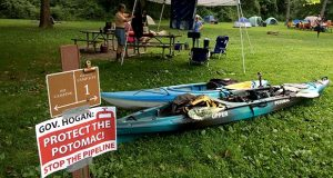 Activists with the Potomac Riverkeeper Network set up at Paw Paw Tunnel Campground near Oldtown, Maryland, in 2017, in preparation for a weekend paddle and protest over TransCanada's plans to build a natural gas pipeline beneath the Potomac River in Western Maryland. (Washington Post photo by Patricia Sullivan)