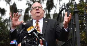Gov. Larry Hogan addresses reporters Monday, the last day of the General Assembly's 2018 session. (Maximilian Franz/The Daily Record)
