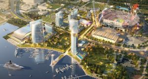 A rendering of a completed $2.5 billion mixed‐use district in a downtown sports complex in Jacksonville, Florida to be developed by Baltimore-based The Cordish Cos. (Illustration courtesy of The Cordish Cos.)
