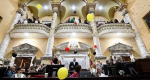 The traditional release of balloons in the Senate chamber signals the end of the 2018 General Assembly session. (Maximilian Franz)