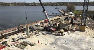 Construction continues on the site of rht of the U.S. Naval Academy's cybersecurity building, Monday, April, 23, 2018, in Annapolis, Md. The building is slated to open for classes in 2020. (AP Photo/Brian Witte)