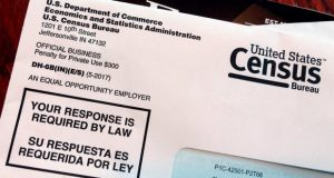This March 23, 2018 file photo shows an envelope containing a 2018 census letter mailed to a resident in Providence, R.I., as part of the nation's only test run of the 2020 Census. A Trump administration plan to include a citizenship question on the 2020 Census has prompted legal challenges from many Democratic-led states. But not a single Republican attorney general has sued _ not even from states with large immigrant populations. (AP Photo/Michelle R. Smith)