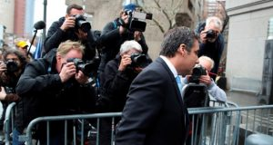 Michael Cohen, President Donald Trump's personal attorney, arrives at federal court, Monday, April 16, 2018, in New York. A U.S. judge will hear more arguments about Trump's extraordinary request that he be allowed to review records seized from Cohen's office as part of a criminal investigation before they are examined by prosecutors. (AP Photo/Mary Altaffer)
