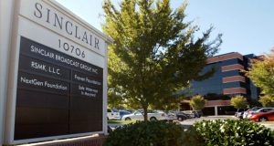 "Sinclair Broadcast Group Inc.'s headquarters in Hunt Valley. Maryland politicians have called out the media giant for its decision to make the anchors on its 193 television stations read a script criticizing ""fake"" news stories from national outlets such as CNN, NBC, CBS and ABC. (Photo by Steve Ruark / AP)"