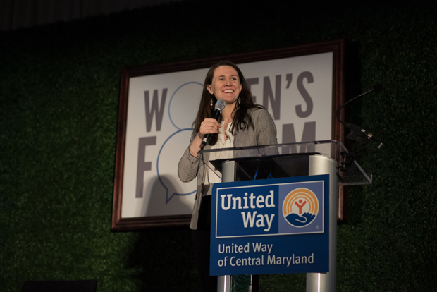 The 2018 United Way of Central Maryland Women's Forum ends with a keynote speech from author and inspirational speaker Liz Murray, who overcame homelessness during high school to be accepted by Harvard University. (Photo courtesy of United Way of Central Maryland)