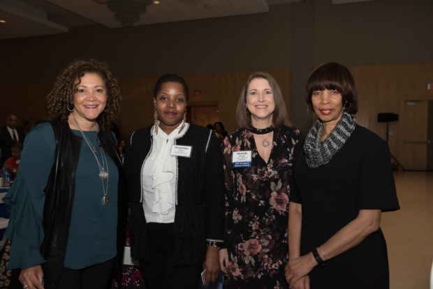 From left, Michele Norris, founder of The Race Card Project and executive director of The Bridge, The Aspen Institute's program on race, identity, connectivity and inclusion; Dominque Moore, co-chair of the 2018 United Way of Central Maryland Women's Forum; Michelle Wright, co-chair of the 2018 Women's Forum and Baltimore Mayor Catherine Pugh gather during the Women's Forum to celebrate the power of storytelling to effect change. (Photo courtesy of United Way of Central Maryland)