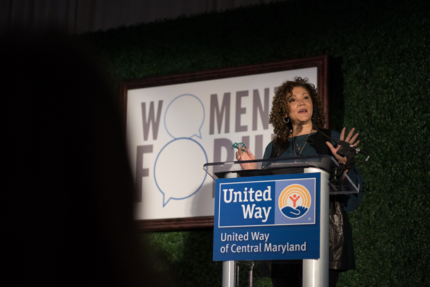 Michele Norris, founder of The Race Card Project and executive director of The Bridge, The Aspen Institute's program on race, identity, connectivity and inclusion., speaks to the crown of more than 500 guests at the United Way of Central Maryland Women's Forum. Norris led attendees in activities to encourage conversation about differences and examining deeply entrenched narratives that define or confine communities. (Photo courtesy of United Way of Central Maryland)