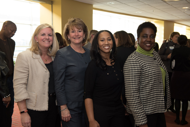 United Way of Central Maryland Women United members join together during this year's forum. Pictured from left, Sheela Murthy, Esq., co-chair of the United Way 2017-2018 Campaign; Linda  K. Fredeking; Liz Ferrugia; Dana Johnson; Laura Bush; Dana Gloor; Lori  A. Villegas, chair of the United Way's Women United membership group; Tere Geckle, co-chair of Women United; Michelle Wright, co-chair of the 2018 Women's Forum; Lois M. Shofer; Carole Miller; Dalal J. Haldeman; Debbie Diehl; Lynne Durbin; Mary Gregory; Kate Norman and Cheryl Mickel. (Photo courtesy of United Way of Central Maryland)