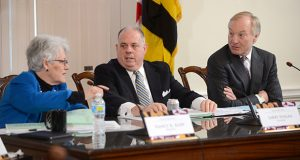 The Board of Public Works at an earlier meeting. From left, Treasurer Nancy Kopp, Gov. Larry Hogan and Comptroller Peter Franchot. (File Photo/Maximilian Franz)
