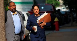 St. Louis Circuit Attorney Kim Gardner, right, and Ronald Sullivan, a Harvard law professor, arrive at court earlier this week for jury selection in Missouri Gov. Eric Greitens' invasion of privacy trial. Prosecutors on Monday abruptly dropped the charge against Greitens in a surprise move that came after the judge had granted a request by Greitens' lawyers to call Gardner as a witness for the defense. (Christian Gooden/St. Louis Post-Dispatch via AP)