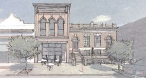 Rendering of the planned Bathhouse Square redevelopment in Pigtown. (Rendering Courtesy Marks, Thomas Architects)