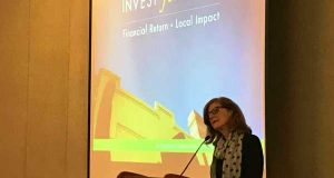 Patti Baum, of RBC Wealth Management, and Baltimore Community Foundation trustee discusses the nearly $6 million Invest for More impact investing fund. (The Daily Record / Adam Bednar)