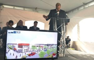 P. David Bramble, managing partner at MCB Real Estate LLC, speaks during a groundbreaking ceremony on Wednesday for the company's Yard 56 development in east Baltimore. (The Daily Record/ Adam Bednar)