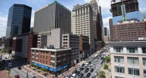 The amount of leased office space north of Lombard Street downtown has decreased significantly during the last two decades. It peaked at 9.7 million square feet in 2006 and is now at 7.6 million square feet. (Maximilian Franz/The Daily Record)
