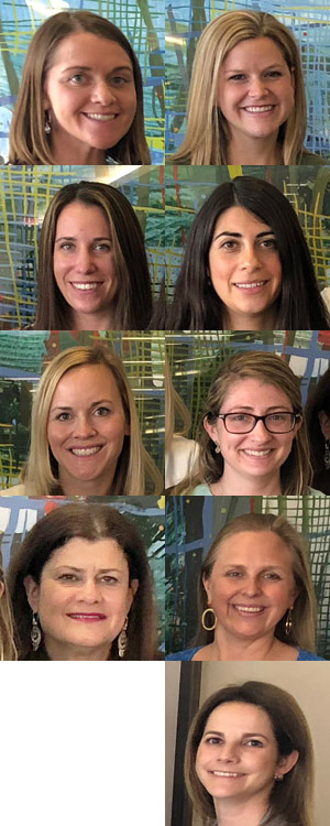 Top row, from left, Kristen Eustis and Jessica Dillon; Second row, Kristyn Myers and Corinne Adams; Third row, Catherine Hopkin and Marissa Lilja; Fourth row, Susan Klein and Laura Bouyea; Fifth row, Lisa Stevens.