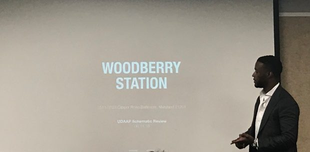 Christopher Mfume, managing partner at CLD Partners, discusses plans for Woodberry Station with Baltimore's design and architecture advisory panel. (The Daily Record / Adam Bednar)