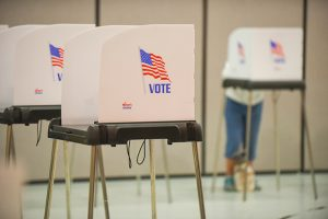 Voter turnout was slow on the morning of primary election day at Jacksonville Elementary School.  (The Daily Record / Maximilian Franz)