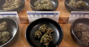 FILE- In this Jan. 1, 2018 file photo, various types of marijuana are on display at Harborside marijuana dispensary in Oakland, Calif. President Donald Trump said Friday, June 8, 2018, that he's inclined to support a bipartisan effort in Congress to ease the U.S. ban on marijuana, a proposal that would dramatically reshape the nation's legal landscape for pot users and businesses. (AP Photo/Mathew Sumner, File)