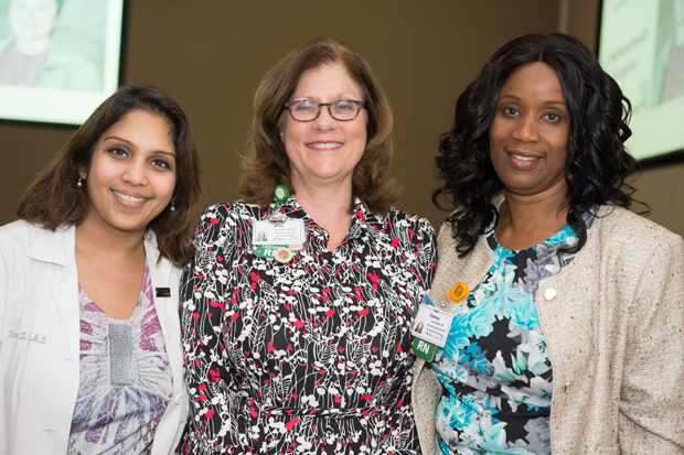 From left, Mercy Medical Center's Dr. Sandy Kotiah, a medical oncologist; Kim Bushnell, DNP, RN, NEA-BC, vice president and chief nursing officer; and Isatu Jalloh, RN, MSN, director of oncology, attended the Sisters of Mercy Nursing Awards. Bushnell and Jalloh were award presenters at the event. (Photo by Jennifer McMenamin)