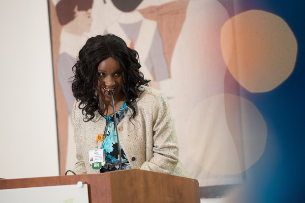 Isatu Jalloh RN, MSN the director of oncology at Mercy Medical Center, addresses the crowd during the Sisters of Mercy Nursing Awards. (Photo by Jennifer McMenamin)